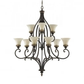 Feiss Drawing Room 9 Light Chandelier Fitting in a Walnut Finish