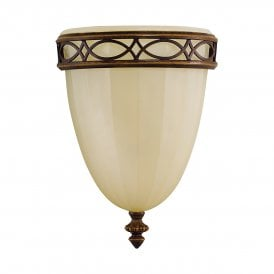 Feiss Drawing Room Single Light Uplighter Wall Fitting in a Walnut Finish