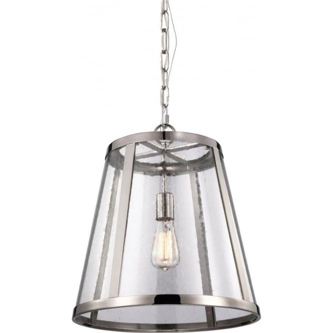 Elstead Lighting Feiss Harrow Single Light Medium Ceiling Pendant In Polished Nickel Finish With Clear Seeded Glass