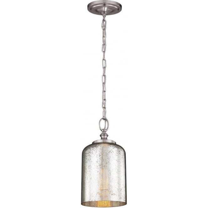 Elstead Lighting Feiss Hounslow Single Light Ceiling Pendant In Brushed Steel Finish