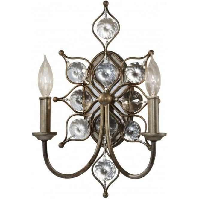 Elstead Lighting Feiss Leila 2 Light Wall Sconce in a Burnished Silver Finish with Crystal Detail
