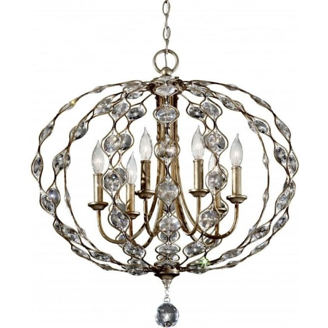 Elstead lighting feiss leila 6 light large pendant chandelier in a feiss leila 6 light large pendant chandelier in a burnished silver finish mozeypictures Image collections