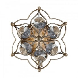 Feiss Leila Single Light Wall Fitting In Burnished Silver Finish With Bahuhinia Crystal Detail