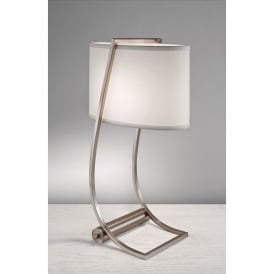 Feiss Lex Single Light Desk Lamp in Brushed Steel with USB Charging Port