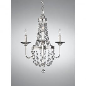Feiss Malia 3 Light Chandelier in Polished Nickel with Crystal Detail