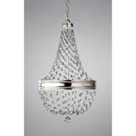 Feiss Malia 6 Light Chandelier Pendant in Polished Nickel with Crystal Detail