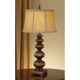 Feiss Oakcastle Single Light Table Lamp in Firenze Gold with Brown Shade