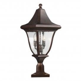 Outdoor lighting uk garden lights castlegate lights feiss oakmont 3 light post lantern in patina bronze finish with seeded glass aloadofball Images