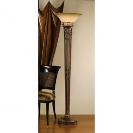 Feiss Opera Single Light Torchiere Floor Lamp with Speckled Scavo Glass