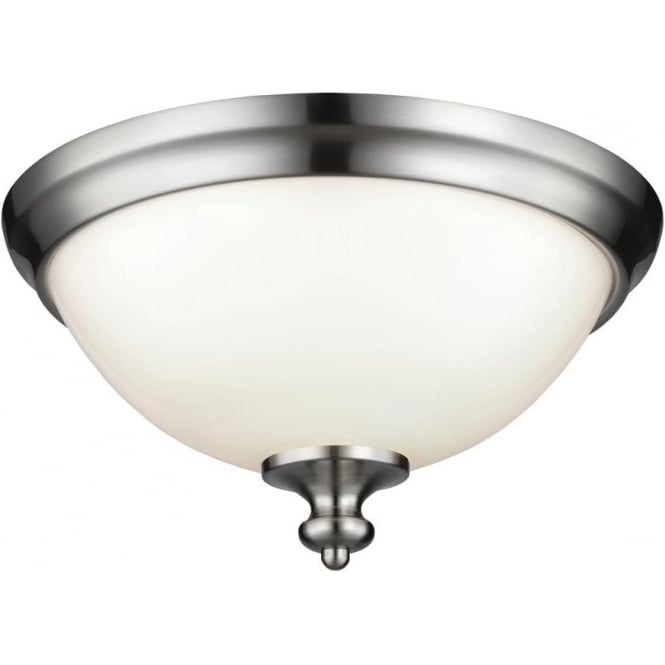Elstead Lighting Feiss Parkman 2 Light Flush Ceiling Fitting In Brushed Steel Finish With White Opal Glass Shade