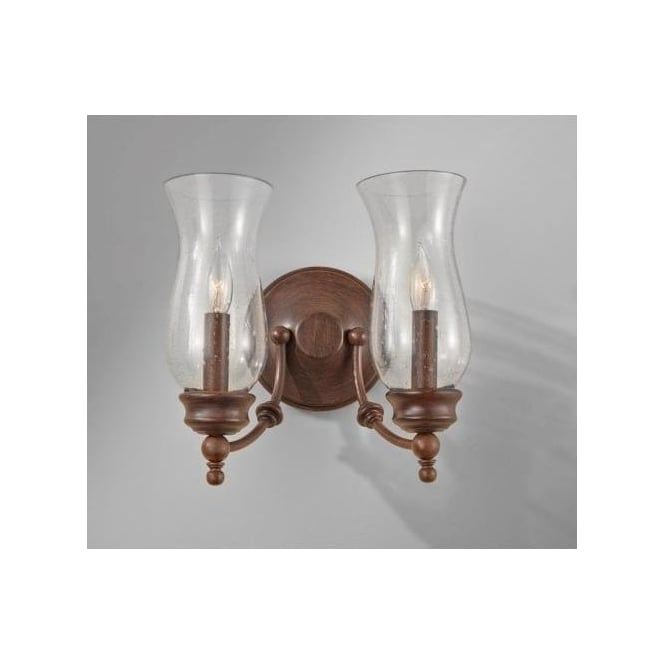 Elstead Lighting Feiss Pickering Lane 2 Light Wall Fixture in a Heritage Bronze Finish