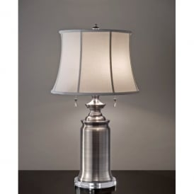 Feiss Stateroom 2 Light Table Lamp in an Antique Nickel Finish