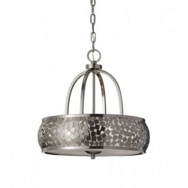 Feiss Zara 4 Light Ceiling Pendant with a Brushed Steel Finish and a Silver Organza Shade
