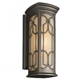 Franceasi Single Light Large Wall Fitting in Old Bronze Finish (Outdoor)