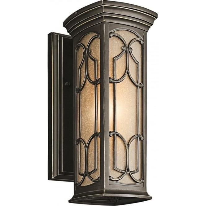 Elstead Lighting Franceasi Single Light Small Wall Fitting in Old Bronze Finish (Outdoor)