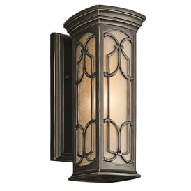 Franceasi Single Light Small Wall Fitting in Old Bronze Finish (Outdoor)