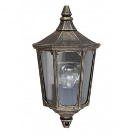 Garden Zone Cricklade Single Light Half Wall Lantern in a Black and Gold Finish