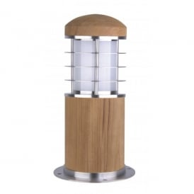 Garden Zone Poole Single Light Low Energy Mini Bollard with Teak Wood