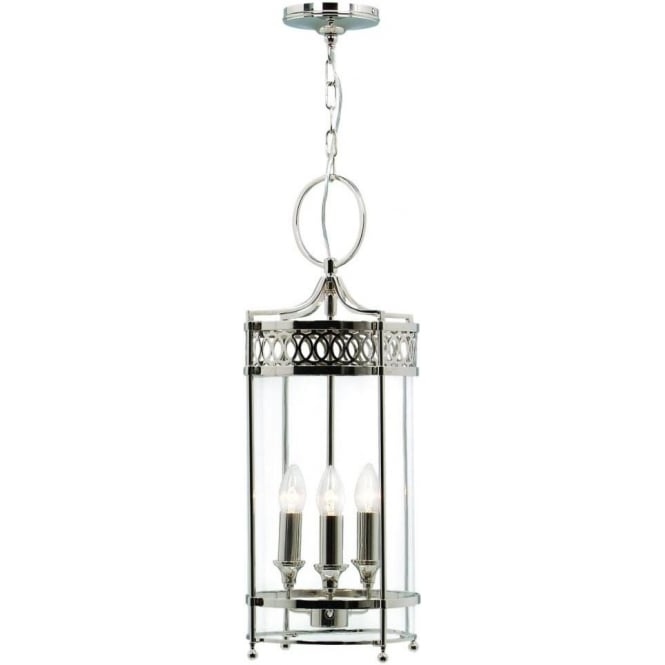 Guildhall polished nickel 3 light ceiling lantern