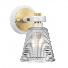 Gunnislake Single LED Bathroom Wall Fitting in White and Aged Brass Finish with Glass