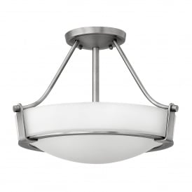 Hathaway 3 Light Small Semi Flush Ceiling Fitting in Antique Nickel Finish
