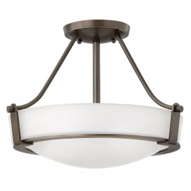 Hathaway 3 Light Small Semi Flush Ceiling Fitting in Olde Bronze Finish