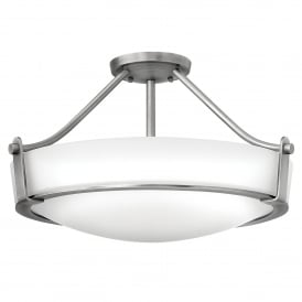 Hathaway 4 Light Medium Semi Flush Ceiling Fitting in Antique Nickel Finish