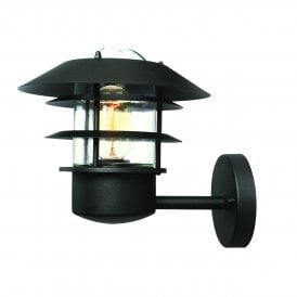 HELSINGOR BK Helsingor Stainless Steel Single Light Outdoor Wall Fitting in Black Finish with Clear Glass
