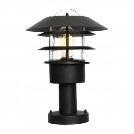 Helsingor Stainless Steel Single Light Outdoor Wall Pedestal Fiting in Matt Black Finish