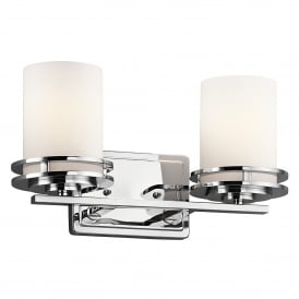 Hendrik 2 LED Wall Fitting in Polished Chrome Finish with Satin-Etched Glass Shades