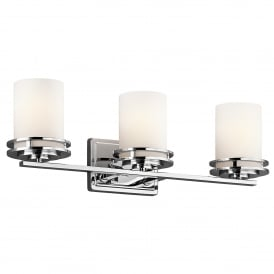 Hendrik 3 LED Wall Fitting in Polished Chrome Finish with Satin-Etched Glass Shades