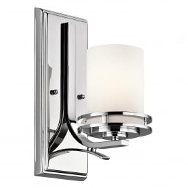 Hendrik Single LED Wall Fitting in Polished Chrome Finish with Satin Etched Glass