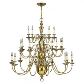 Hinkley Cambridge 25 Light Ceiling Chandelier in Burnished Brass Finish