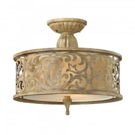 Hinkley Carabel 2 Light Semi Flush Ceiling Fitting In Brushed Champagne Finish