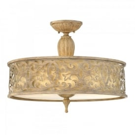 Hinkley Carabel 3 Light Semi Flush Ceiling Fitting In Brushed Champagne Finish