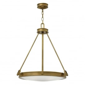 Hinkley Collier 4 Light Ceiling Pendant In Herritage Brass Finish With Opal Glass Shade