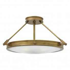 Hinkley Collier 4 Light Semi Flush Ceiling Fitting In Herritage Brass Finish With Opal Glass Shade