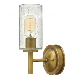 Hinkley Collier Single Light Wall Fitting In Herritage Brass Finish With Opal Glass Shade