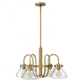 Hinkley Congress 4 Light Ceiling Pendant In Brushed Caramel Finish And Clear Glass Shade