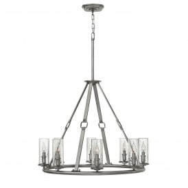 Hinkley Dakota 8 Light Ceiling Pendant in Polished Antique Nickel Finish With Faux Leather Detail