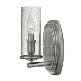 Hinkley Dakota Single Light Wall Fitting in Polished Antique Nickel Finish With Seeded Glass Shade