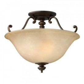Hinkley Dunhill 2 Light Semi Flush Ceiling Fitting In Royal Bronze Finish And Alabaster Glass Shade