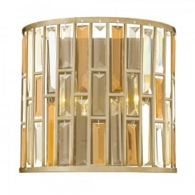 Hinkley Gemma 2 Light Wall Fitting In Silver Leaf Finish With Amber And Clear Glass