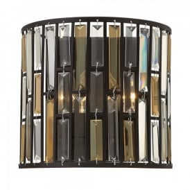 Hinkley Gemma 2 Light Wall Fitting In Vintage Bronze Finish With Amber And Clear Glass