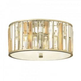 Hinkley Gemma 3 Light Flush Ceiling Fitting In Silver Leaf Finish