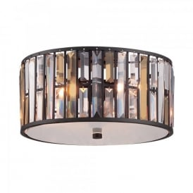 Hinkley Gemma 3 Light Flush Ceiling Fitting In Vintage Bronze Finish