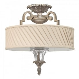 Hinkley Kingsley 3 Light Semi Flush Ceiling Fitting In Silver Leaf Finish And Ivory Shades