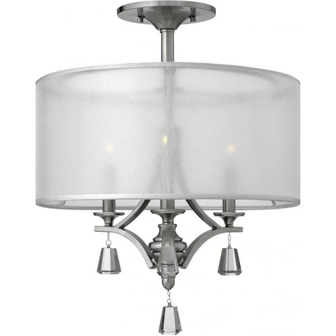 Elstead lighting hinkley mime 3 light semi flush ceiling fitting hinkley mime 3 light semi flush ceiling fitting in brushed nickel finish with translucent shade and aloadofball Choice Image