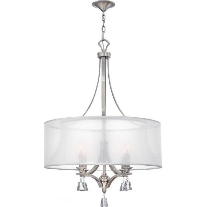 Elstead lighting hinkley mime 4 light ceiling pendant chandelier in hinkley mime 4 light ceiling pendant chandelier in brushed nickel finish with translucent shade and crystal aloadofball Image collections