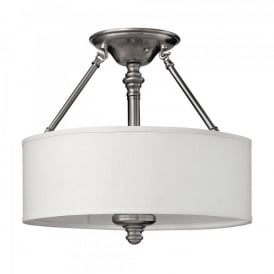 Hinkley Sussex 3 Light Semi Flush Ceiling Fitting In Brushed Nickel Finish And White Fabric Shade